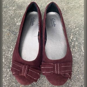 Clark's Bendables Maroon Flats With Bow